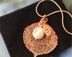 Real Leaf Jewelry,Colorado Aspen Leaf Necklace,ROSE GOLD patina,Pearl, personalized initial, rose gold plated chain, exclusive - Edit Listing - Etsy