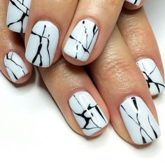 black and white nail design