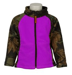 Trail Crest Infant - Toddler Girls Outdoor Fleece Jacket, 6-12 Months, Camo & Purple