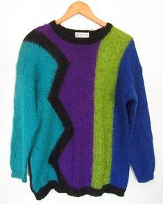 with zig zag pattern. Bold Fashion, 80s Fashion, Zig Zag Pattern, Mohair Sweater, Color Block Sweater, Batwing Sleeve, Windbreaker Jacket, Neon Colors, Fancy Dress