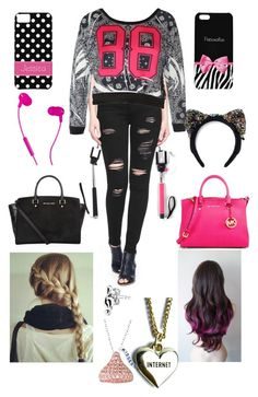 """Takin selfies!"" by aafreenzs ❤ liked on Polyvore featuring True Religion, MICHAEL Michael Kors, Lazy Oaf, Bling Jewelry and Masterpeace"