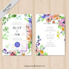 水彩花の結婚式のメニューテンプレート 無料ベクター                                                                                                                                                      もっと見る