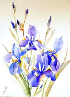 Irises original large watercolor painting  24 X 18 by ORIGINALONLY, $77.00