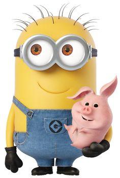 Minion with Piggy Transparent Cartoon PNG Image