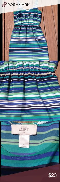 "Loft Dress EUC, this is a great summer work dress! Gorgeous green, blue and white stripes Sheath dress with a light underlay. Measures 34.5"" in length 36"" armpit to armpit. Says size 4, but fits a little big.  Would best fit 6-8.  Lots of other listings to bundle and save:). Dresses Midi"