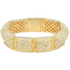 CC Skye Pave Stud Bracelet Gold ($300) ❤ liked on Polyvore featuring jewelry, bracelets, bracelet bangle, gold bracelet, gold studded bracelet, swarovski crystal bracelet and 18 karat gold jewelry