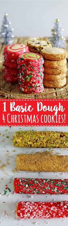 1 basic dough = 4 slice and bake Christmas cookie recipes! Christmas pinwheels, candy cane pinwheels, Christmas Spice, Orange, Cranberry & Pistachio! | thekiwicountrygirl.com