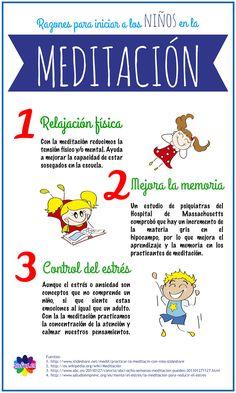 Infografía que muestra tres buenas razones por las que los niños se deberían iniciar en el mundo de la meditación. http://www.zafus.es/