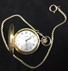 Colibri Pocket Watch Gold Tone Engraved Design Quartz Swiss Made Chain Works #Colibri