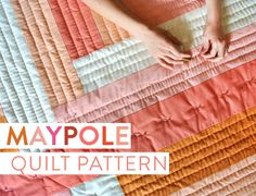 Instantly download this Maypole Quilt Pattern PDF! The modern minimal design is fast to sew together and has a bold impact.