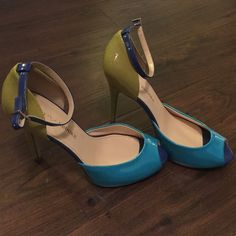 Funky Color Block Peep Toe Heels Lime green, turquoise, & Royal blue thin heels. Never been worn. NWOT - so adorbs! Audrey Brooke Shoes Heels