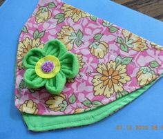 Bright Summer Floral Over the Collar Dog Bandanna w/Green Fabric Flower Accent - fits sizes SMALL & MEDIUM by PrettyPuppiesbyJ on Etsy