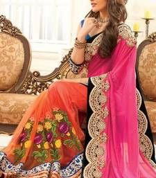 Light orange georgette & net combo thread worked saree in pink pallu