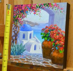 Splendor of Santorini – Mikki Senkarik Paintings I Love, Love Painting, Easy Paintings, Acrylic Painting Canvas, Greece Painting, Colored Pencil Artwork, Picasso Art, Step By Step Painting, Muted Colors