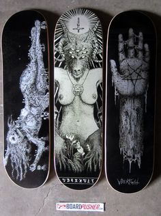 Featured Decks by Justin Bartlett that you can pick up at his BoardPusher shop www.boardpusher.com/shop/vberkvltskate skate skateboard skateboards skateboarding sk8 art artist artists pen ink satan goat nude naked woman corpse pentagram