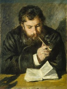 From National Gallery of Art, Washington, D.C., Pierre-Auguste Renoir, Claude Monet (1872), Oil on canvas, 25 9/16 × 19 11/16 in