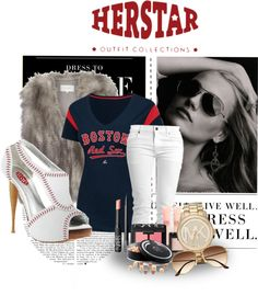 """""""Boston Red Sox HERSTAR Fashion"""" by missmelika on Polyvore. I don't think I'd ever wear this all together but those shoes are FIERCE."""