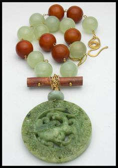 ASIAN SPRING - Jade and Tibetan Amber - Handcarved Jade Pendant - Statement Necklace by sandrawebsterjewelry on Etsy
