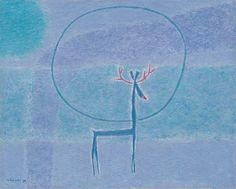 (Korea) Deer by Whanki Kim (1913-1974). Oil on canvas.