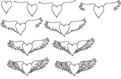 how to draw a cartoon heart with wings