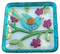 - Birdie Glass Fusion Snack Plate by Lori Siebert Fused Glass Plates, Fused Glass Art, Glass Dishes, Stained Glass, Glass Fusion Ideas, Craft Projects, Projects To Try, Mosaic Birds, Colored Glass