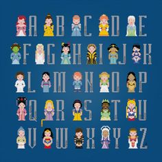 Stitch this princess-themed alphabet.