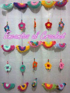 Tira De Pajaritos Encantos Al Crochet - $ 150,00
