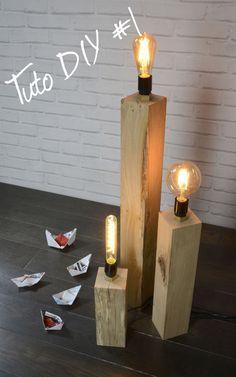 TUTO #DIY1 LAMPES VINTAGES-Chêne Décors. Création d'une lampe vintage en chêne massif avec son ampoule effet vintage. Cette lampe sera parfaite pour votre intérieur brut ou contemporain.