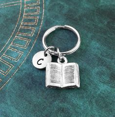 Book Keychain, Book Keyring, Personalized Keychain, Book Gift, Custom Key Ring, Book Lover Gift, Open Book Charm Necklace, Literature Gift