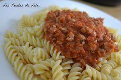 Pasta con Salsa Boloñesa. ~ Las Recetas de Lala