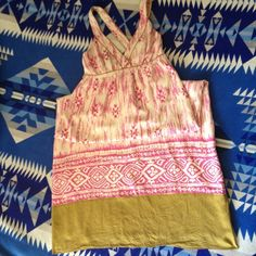 Silk print maxi dress Loft Lovely! 100% Cream silk with magenta print trimmed in olive. Beautiful block print pattern detail on bottom hem. Cross cross straps in the back. Side zip. Ann Taylor Loft size 8. Fully lined and ready to hit the town LOFT Dresses Maxi