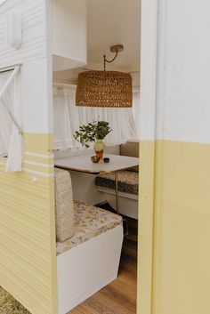 Michael and Carlene have just finished renovating their fourth vintage caravan called 'Bumblebee' – inspired by its sunny yellow exterior … Retro Caravan, Caravan Ideas, Caravan Decor, Architecture Renovation, Caravan Makeover, Vintage Caravans, Vintage Campers, Vintage Trailers, Remodeled Campers