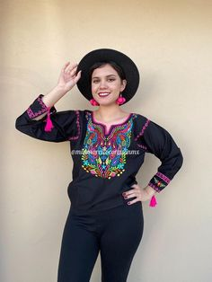 Colorful floral, mexican blouse, embroidered top, cinco de mayo, hippie boho, fiesta mexicana, festival outfit, huipil, frida, resort wear Mexican Skirts, Mexican Blouse, Mexican Outfit, Baby Bloomers, Mexican Party, Embroidered Blouse, Resort Wear, Hippie Boho, Boho Style