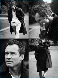 Jude Law photographed for Esquire UK in a double-breasted Prada coat with a…