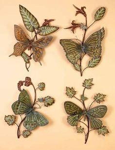 Butterfly Metal Wall Sculpture 4pc Set by Benzara. $146.15. Dimensions: 22 to 25 H x 8.5 W inches.. 4 Metal wall sculptures as shown in picture. Nothing makes a house a home like some wonderful decor. Metal Decor is really starting to catch on as a hot trend in home decoration, and what took it so long? With clean looking durable construction you'll have a fine piece that lasts.