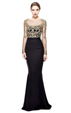 Reem Acra Long Sleeve Embroidered Illusion Gown by REEM ACRA for Preorder on Moda Operandi Dress Outfits, Dress Up, Fashion Outfits, Dress Long, Fasion, Evening Dresses, Prom Dresses, Formal Dresses, Reign Dresses