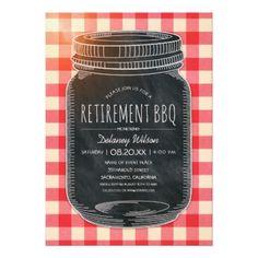 #rustic - #Rustic Retirement BBQ Picnic Party Mason Jar Card