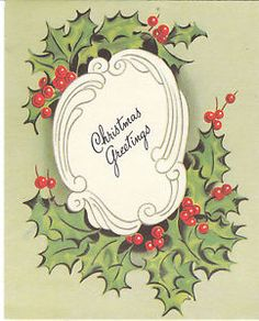 Vintage-Christmas-Card-Holly-Greetings-Green-Background-A-Meri-Card