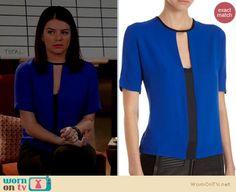 Penny's cobalt blue keyhole blouse on Happy Endings.  Outfit Details: https://wornontv.net/14518/ #HappyEndings