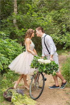 Her outfit: YES! Love this engagement photo and the bride's skirt and heels combo is perfect.