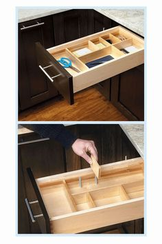$29.99 · Rev-A-Shelf - Ld-4Ct15-1 - Small Adjustable Wood Drawer Organizer Kit Natural - Rev-A-Shelf doesn't want to hold back your organization. With our customizable drawer insert you can configure your compartments to your exact needs. Included wood dividers and clips allow unlimited possibilities. Simply configure and drop into place. - kitchen gadgets #kitcendecor #kitchendrawers