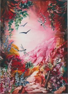"Encaustic Wax Aceo Card "" Dragonfly Floral Path 4 "" Original J.E.Green   eBay"