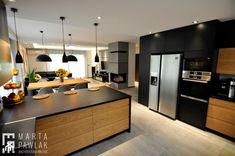 Dom Jednorodzinny Wisła - realizacja - Duża otwarta kuchnia w kształcie litery g z wyspą, styl industrialny - zdjęcie od MARTA PAWLAK ARCHITEKTURA WNĘTRZ - homebook