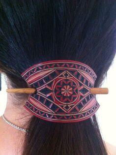 Mini carved leather hair barrette Geometric design hair