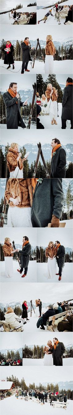 An outdoor winter wedding ceremony in the Austrian Alps by Wild Connections Phot. An outdoor winter wedding ceremony in the Austrian Alps by Wild Connections Photography. Snowboard Wedding, Ski Wedding, Outdoor Winter Wedding, Ski And Snowboard, Outdoor Ceremony, Wedding Blog, Winter Wedding Ceremonies, Wedding Ceremony, 2 Piece Wedding Dress