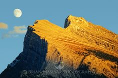 Moonrise over Mt. Rundle, Banff, Canada - maslyarphoto - Art of Nature, Travel, Landscape, Wildlife and Hiking Photography  www.maslyarphoto.com