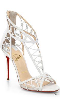 Christian Louboutin ~ White Tstrap Leather Sandals