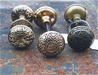 Decorative brass and bronze antique doorknobs 1850s to 1910 ~ OldHouseParts.com