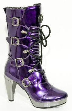 new rocks purple boots Purple Love, All Things Purple, Shades Of Purple, Purple Stuff, Deep Purple, Bottes Goth, Bootie Boots, Shoe Boots, New Rock Boots