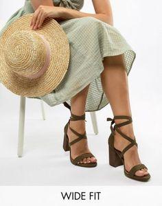 f0ba28588ed ASOS DESIGN Wide Fit Travis Tie Leg Block Heeled Sandals Tie Heels